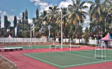Lapangan Voli yang tengah dibenahi PBVSI Kota Bima untuk open turnamen bola voli antar club se-NTB. Foto: Bin