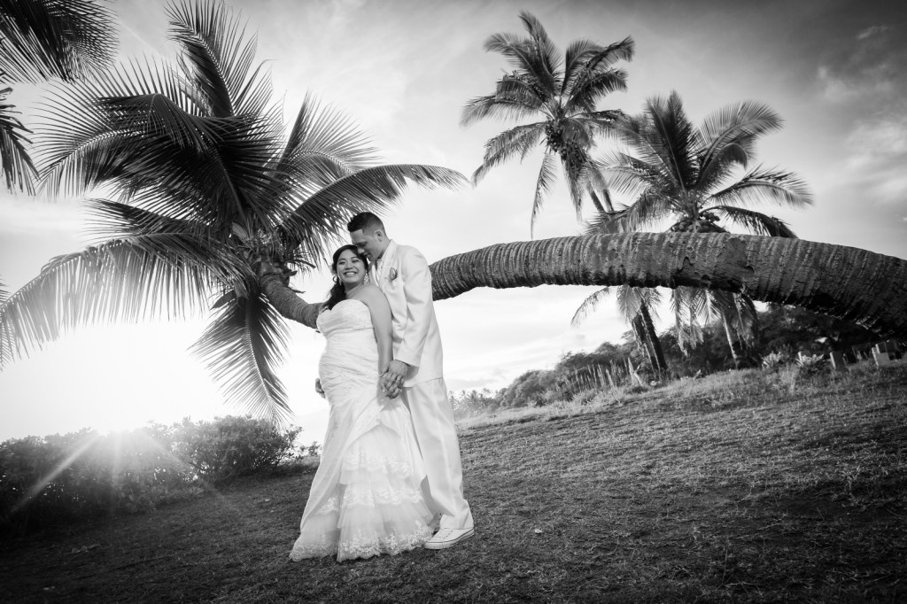 Black and white sunset wedding