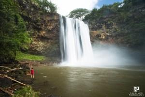Flood conditions on Kauai create a curtain of haze below the falls of Wailua on Kauai.