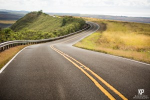 Winding roads lead back down from Waimea Canyon on the west side of the island of Kauai in Hawaii