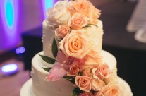 One of a kind rose inlaid wedding cake!