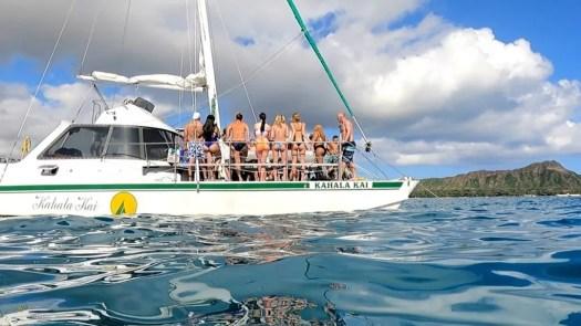 Sunset Sailing Catamaran In Waikiki