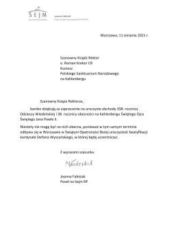 Pismo do Szanownego Księdza Rektora o. Romana Krekora CR