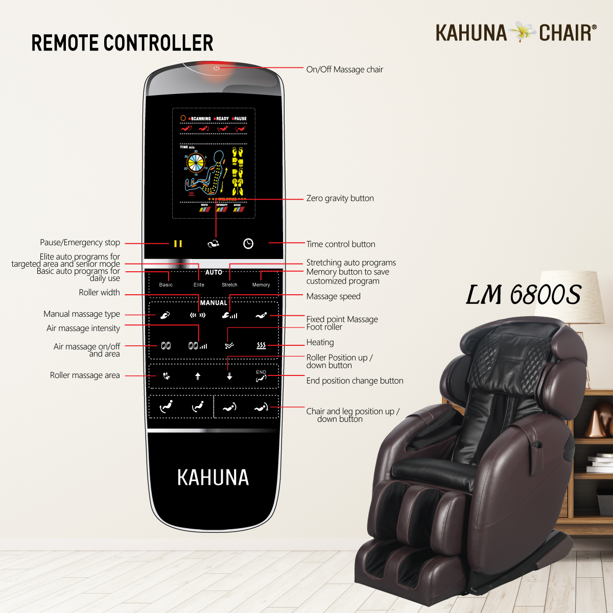 Elite Massage Chair Kahuna Chair Lm 6800s Black