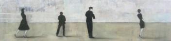 2010 Grund und Tiefe 50 x 200 cm Öl, Acryl, Tusche, Nessel