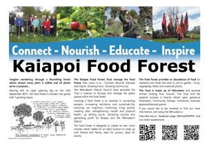 Kaiapoi Food Forest Open day fliers