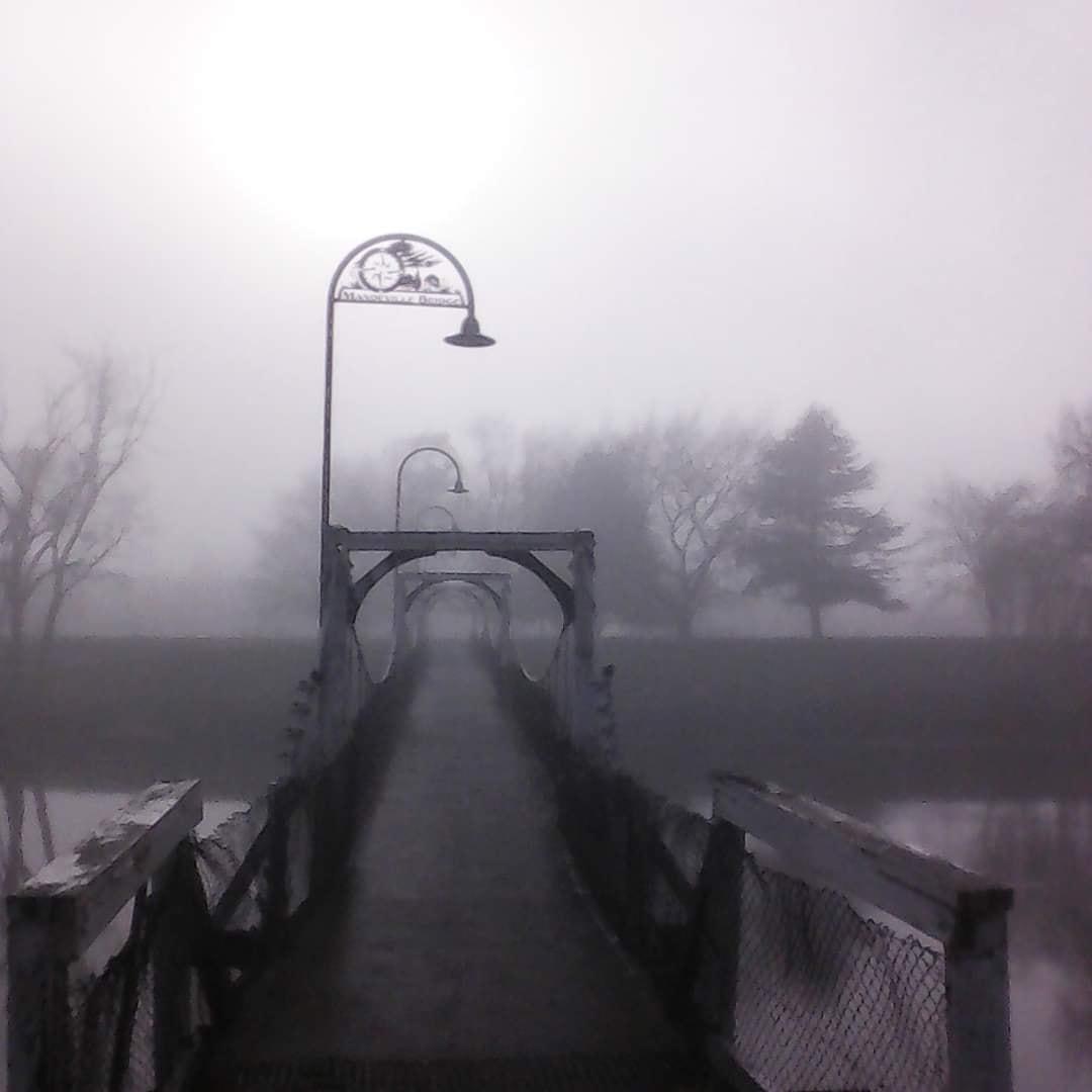 Kaiapoi - foggy walking bridge - Lawz Mitchell