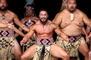 CHRISTCHURCH, NEW ZEALAND - MARCH 08: Members of Waihirere from Gisborne perform during the Te Matatini National Kapa Haka Festival 2015 at Hagley Park on March 8, 2015 in Christchurch, New Zealand. The National Kapa Haka festival is a biennial event celebrating Maori traditional performing arts. (Photo by Martin Hunter/Getty Images)