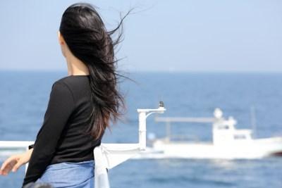 旅,女性,港,船