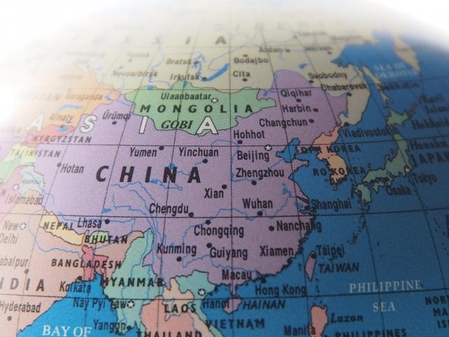 世界地図、中国