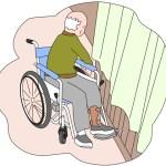 足で操作する車椅子の舵
