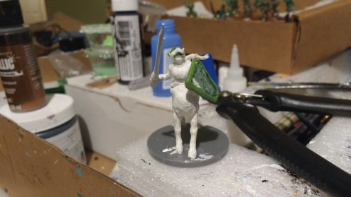 Trista the White Wolf torso on horse body. Adding details with Kneadatite.
