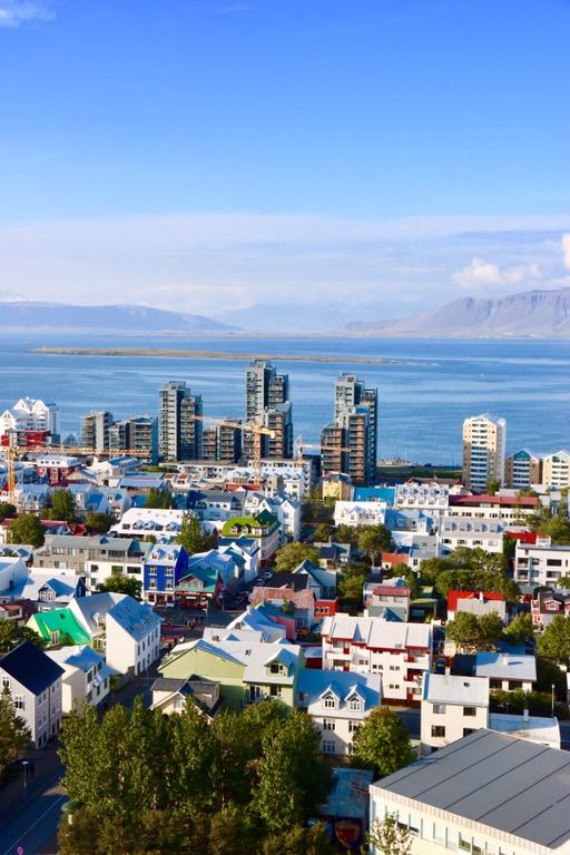 View from Hallgrimskirkja Church tower, Reykjavik Iceland
