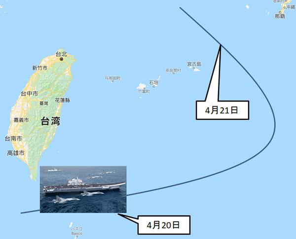 中国空母遼寧の推定航行コース