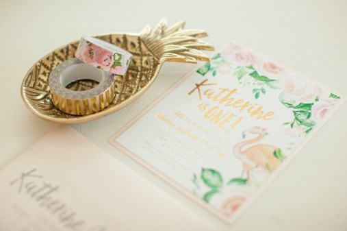 Flamingo and Floral Birthday Party Invitation