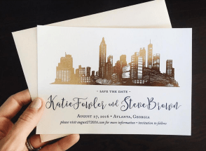 Blush and Gold Atlanta Skyline Save the Date