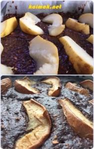 преди и след шоколадов десерт с круши и тъмен шоколад
