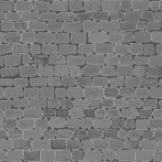 3D Scanned Seamless Cobblestone Pavement Roughness Map