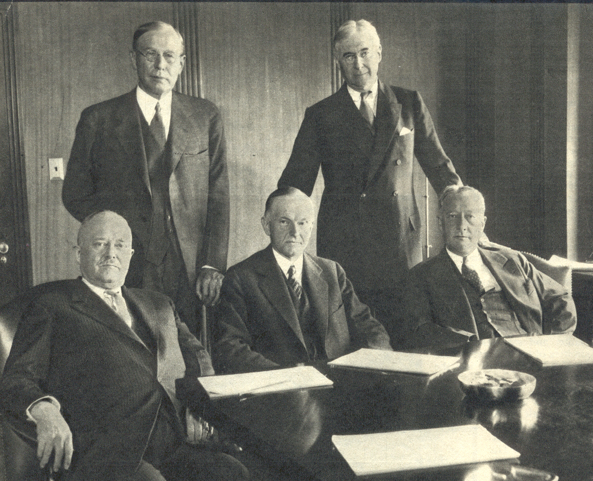 cc with bernard baruchstanding right and al smith seated right on railroad commission