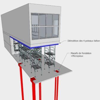 PHASE 3 : Renforcement du sol par injection - Destruction des poteaux et fondations existantes -Forage de micropieux