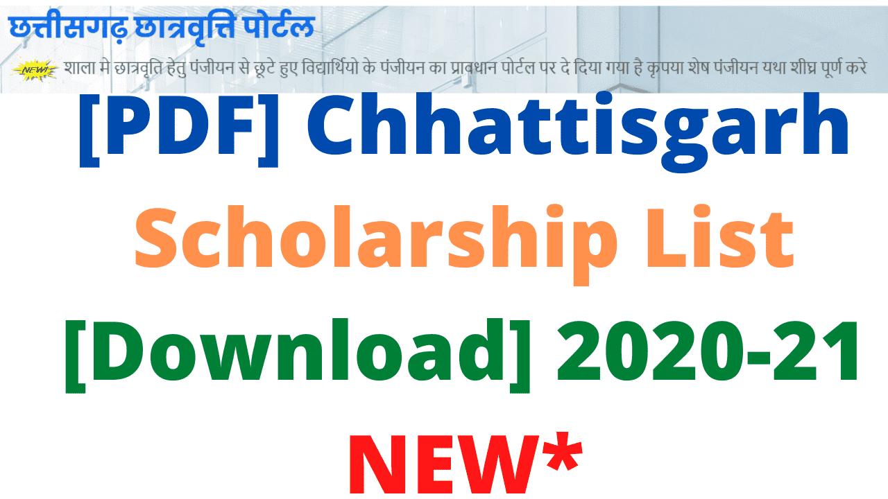 [PDF] Chhattisgarh Scholarship List [Download] 2020-21 NEW*
