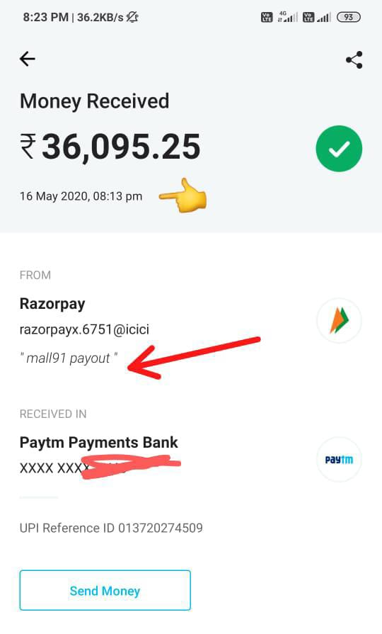 Mall 91 latest Payment proof