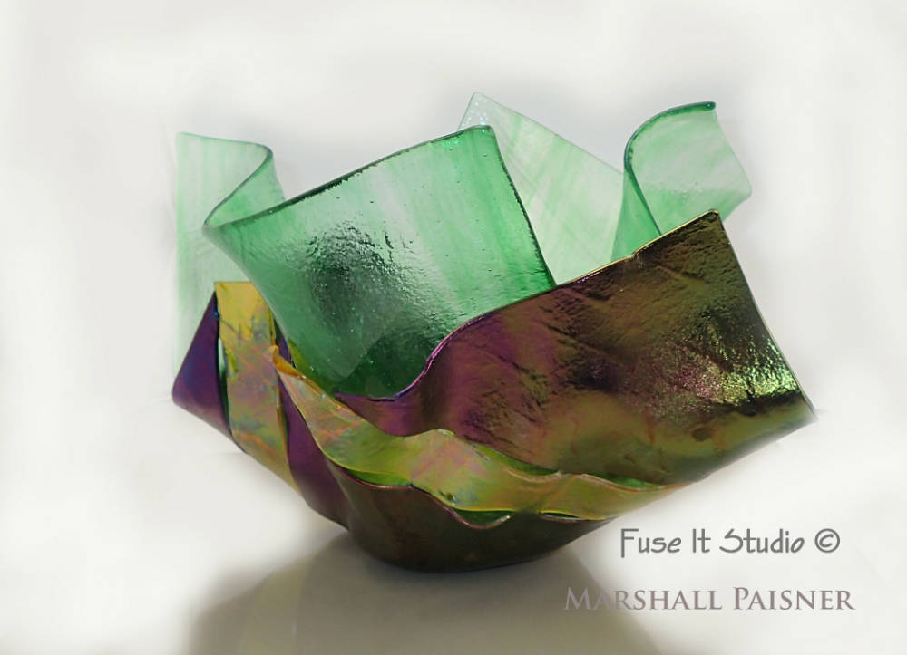 Draped Double Glass Vase by M. P.