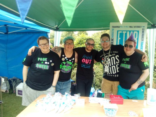A wonderful picture of what was the FTM Brighton committee at the time of Trans Pride.