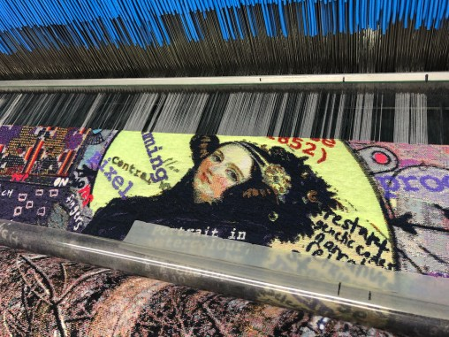 Ada Lovelace appearing on tapestry art as it is weaved at Flanders Tapestry in Belgium, the same factory that created the works of Grayson Perry. Weaving art, craft, craftiness, mental health, ADHD, gender and more together. Art-psychiatry commission #MagicCarpet (Kai Syng Tan 2017-2019).