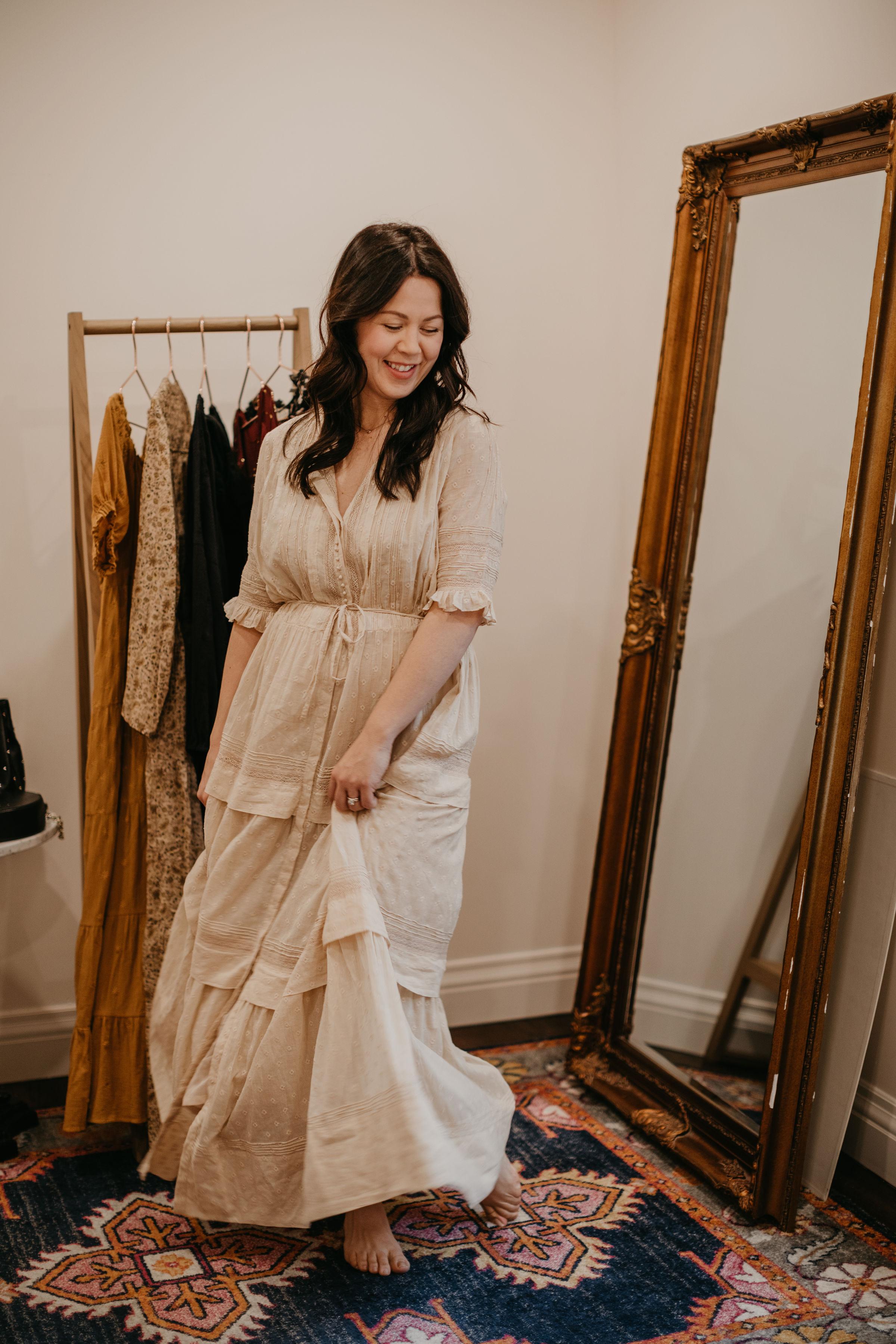 d84135b708d41 ... What to wear when you're pregnant | Dôen Primrose Dress, baby-bump