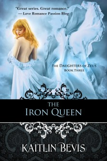 Second edition book cover of the young adult, greek mythology retelling, The Iron Queen, book three of the Daughters of Zeus series. Features the greek goddess of Spring, Persephone,