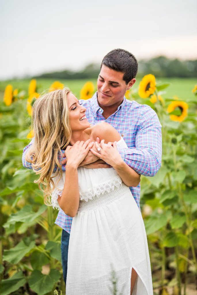 sunflowers and laughing romantic engagement