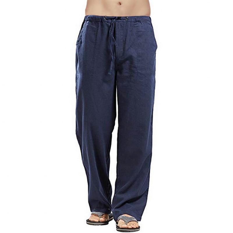Drawstring Loose Pantalones Hombre Solid Straight Harem Pants