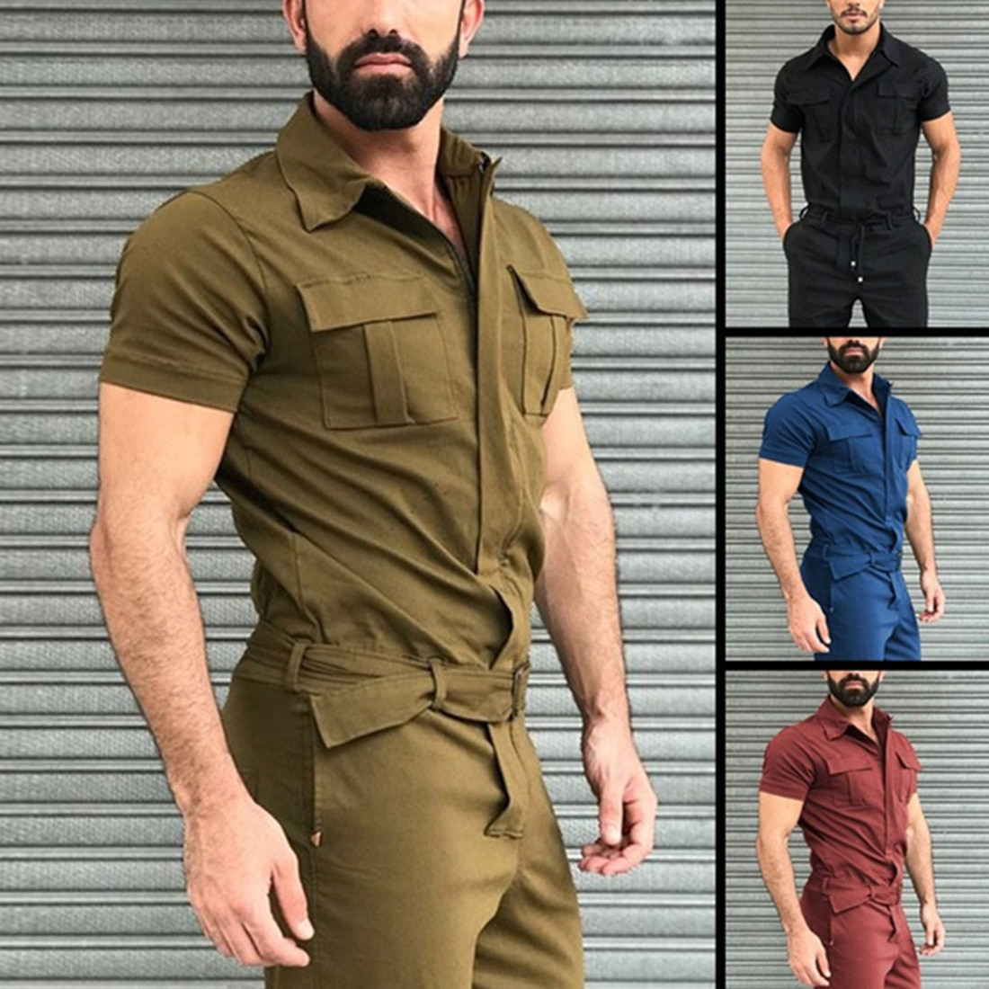 Mens Overalls Casual Notched Short Sleeve Rompers