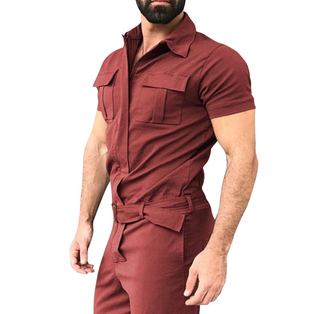 Mens Overalls Streetwear Lapel Short Sleeve Rompers Cargo Pants