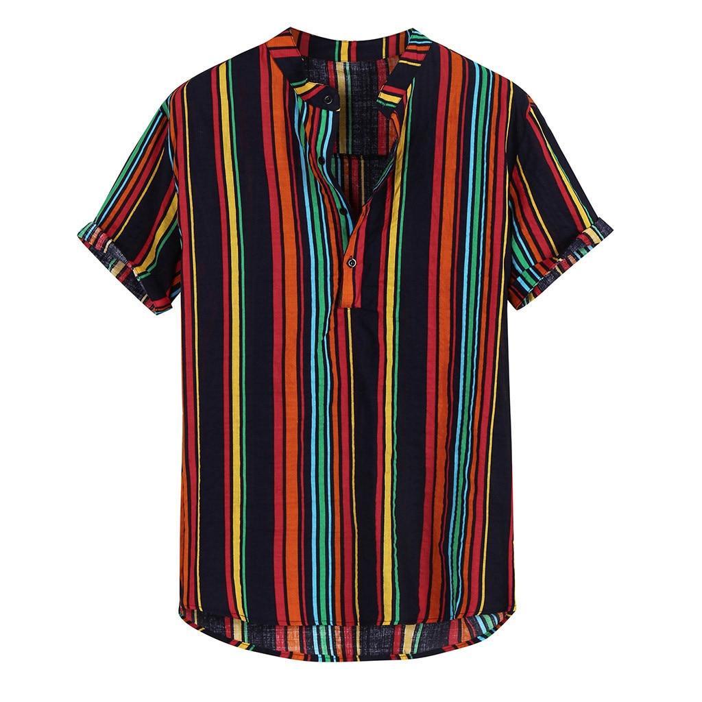 Short Sleeve Hawaiian Shirts Stand Collar Strip Print Cool Thin Shirt