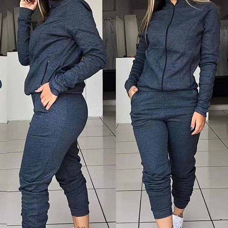 Hoodies Loose Hooded Tops Sweatshirt Solid Long Pants