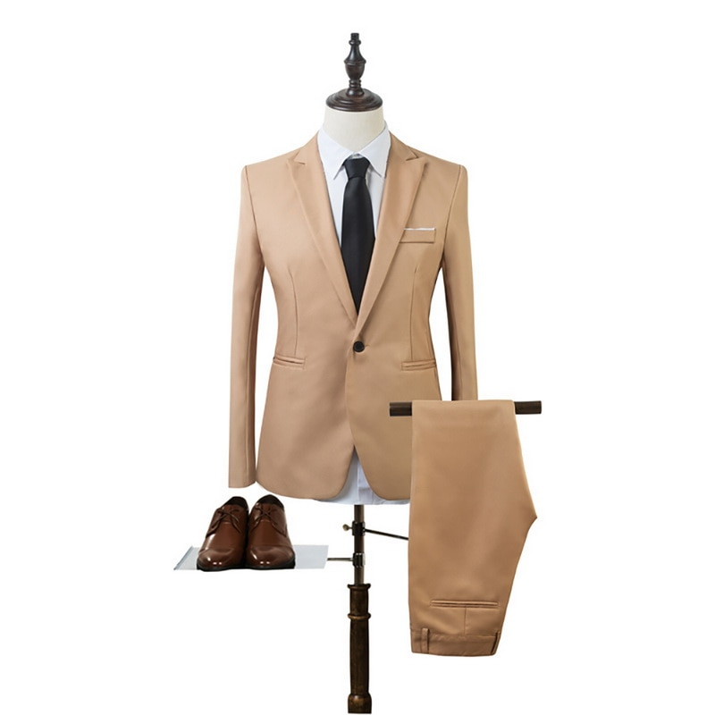 New 2 Pieces Business Blazer+Pants Suit Set