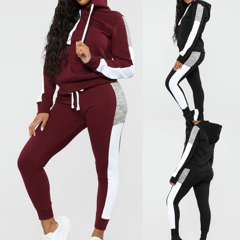 Laamei Long Sleeve Tracksuit Women Stripe Running Set