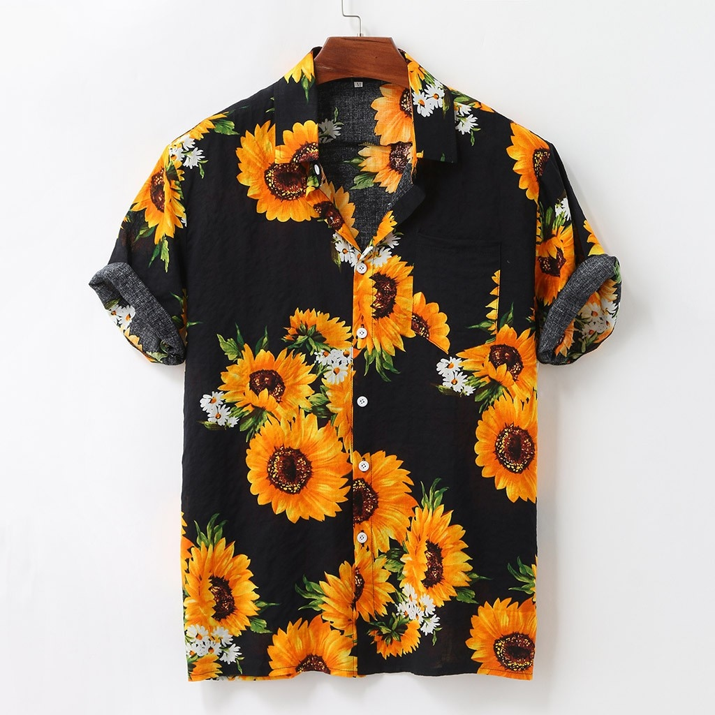 Colorful Summer Short Sleeve Loose Button Shirts