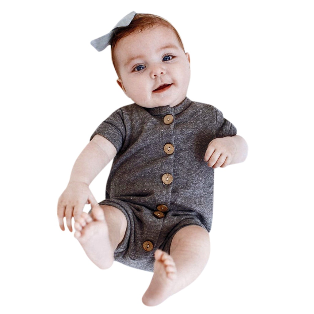 Newborn Infant Baby Boy Short Sleeve Striped Romper Jumpsuit
