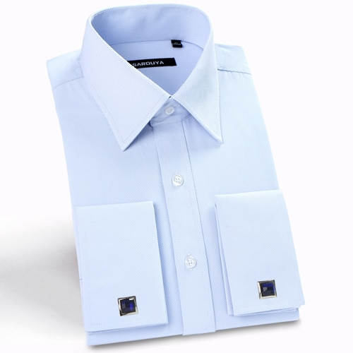 Classic Men's Spread Collar French Cuff Dress Shirts