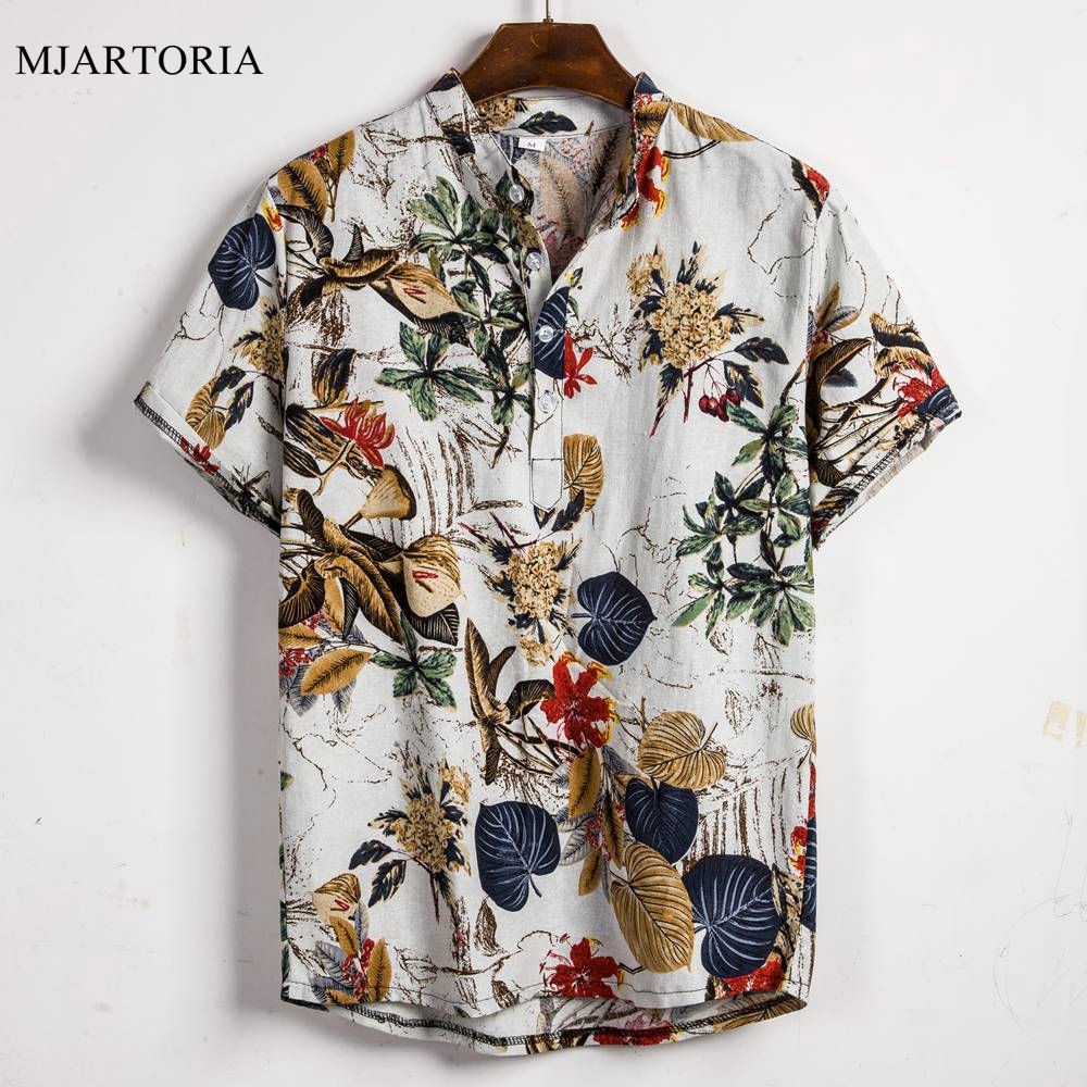 Cotton Linen Stripe Short Sleeve Loose Hawaiian Henley Shirt