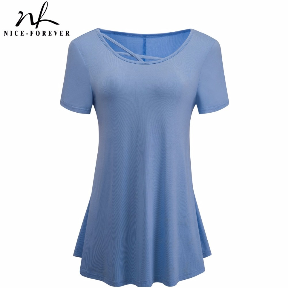 Women Short Sleeve Soft Hollow Out Crisscross O-Neck Loose Tees