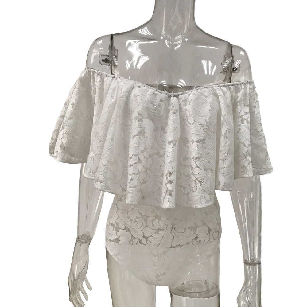 Women Summer Fashion Frill Off Shoulder Lace Bodysuit