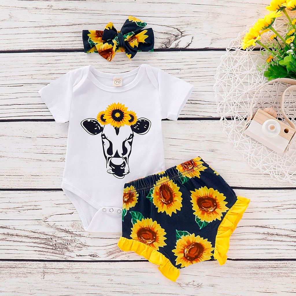Toddler Infant Baby Girls clothes Cartoon Printed Romper