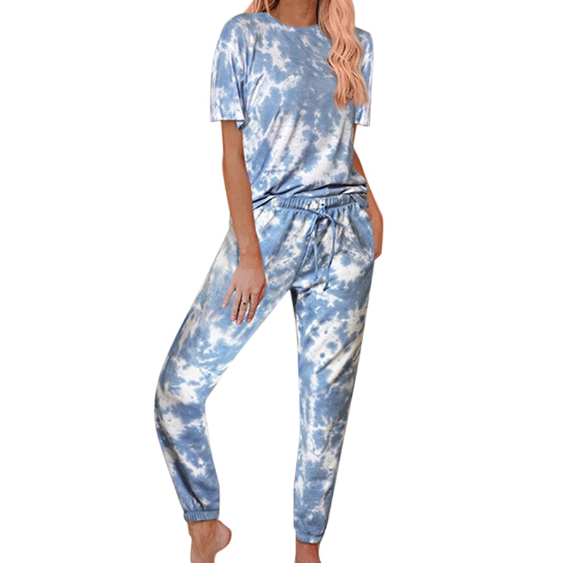 Casual Daily Women Tie-dye Suits Wears Short Sleeve Round Collar Tops
