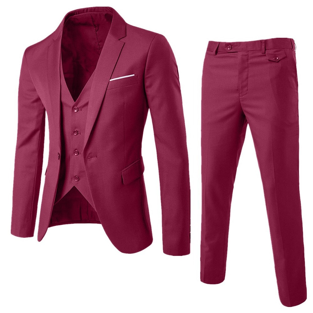 Men's Slim Business Wedding Party Suit 3 Piece Set