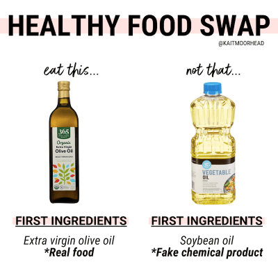 If you're trying to eat healthier, but don't want to give up your favorite foods you should definitely be looking for healthy + food swaps to make each day. This post includes 5 easy healthy switches you can make to everyday foods you buy + cleaner choices that have better ingredients [+ still taste good!]. Even just making one healthier alternative a day by reading nutrition facts will help you develop good healthy eating habits to help you lose weight, body fat, + you will FEEL better!