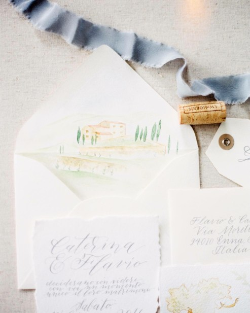 Envelope and map invitation suite illustrations (photo by Erika Brown Photography)
